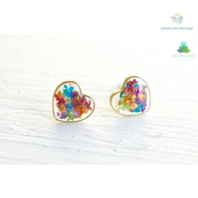 Real Pressed Flower and Resin Heart Stud Earrings in Party Mix - Wander Wild Boutique