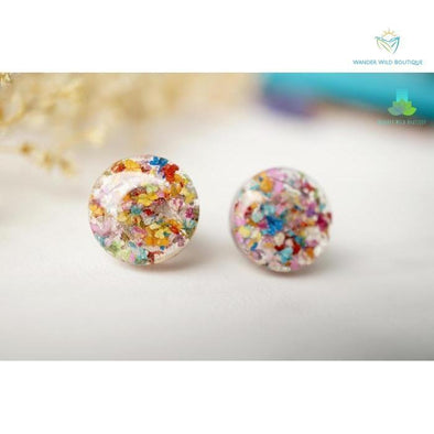 Real Pressed Flowers and Resin Circle Stud Earrings in Party Mix - Wander Wild Boutique