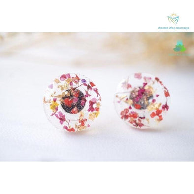Real Pressed Flowers and Resin Circle Stud Earrings in Red Pink and Gold Flakes - Wander Wild Boutique