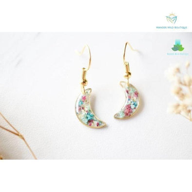 Real Pressed Flowers and Resin Earrings, Gold Celestial Moons in Maroon Mint Teal White - Wander Wild Boutique