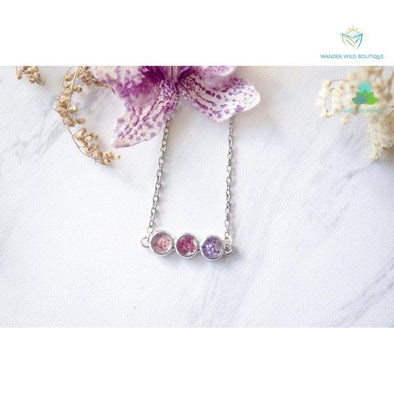 Real Pressed Flowers and Resin Necklace Ombre Pink Purple Bar - Wander Wild Boutique