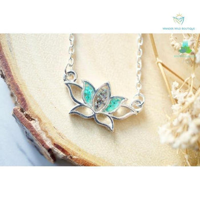 Real Pressed Flowers and Resin Necklace Silver Lotus Flower in Teal and Deep Purple - Wander Wild Boutique