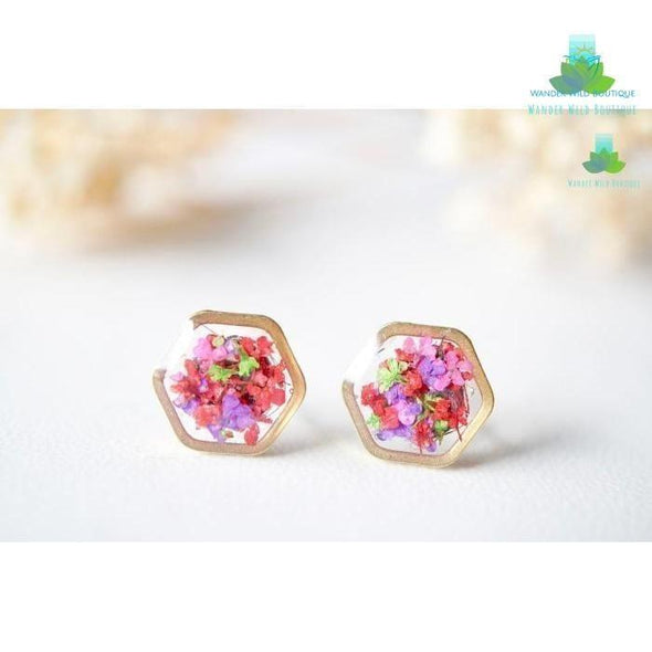 Real Pressed Flowers and Resin Stud Earrings, Gold Hexagon in Neon Mix - Wander Wild Boutique