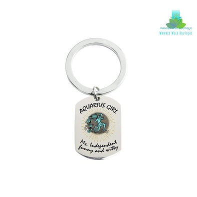 Solid Stainless Steel Tag Zodiac Sign Keychain - Wander Wild Boutique