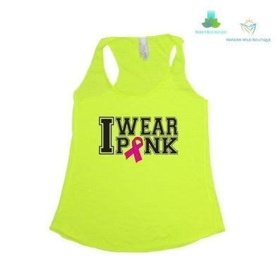 Wear Pink Breast Cancer Awareness Tri Blend Tank - Wander Wild Boutique