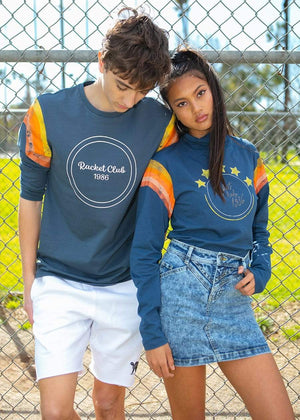 TeenzShop  Boys Indigo Long Sleeve  Racket Club T-Shirt