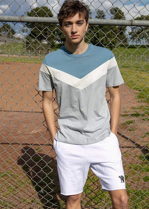 TeenzShop  Boys Vintage Blue Short Sleeve Diagonal Print T-Shirt
