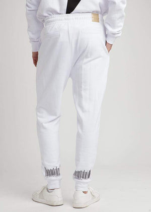 TeenzShop  Boys White Barcode Joggers