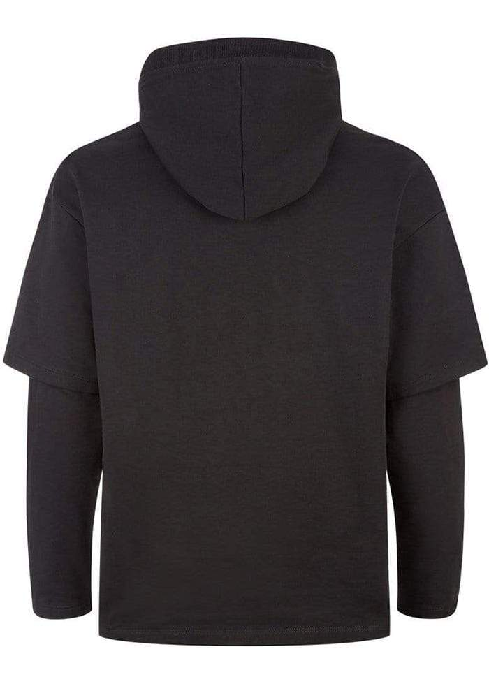 Boys Black Double Sleeve Hoodie-TeenzShop