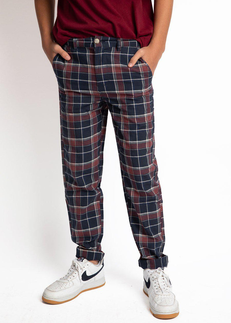 Boys Blue and Dark Pink Checkered Trousers-TeenzShop