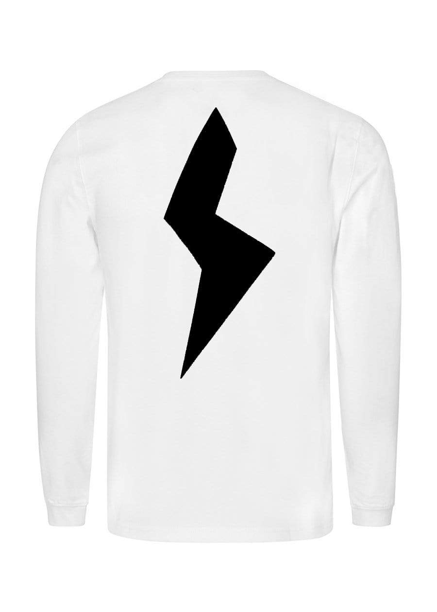 TeenzShop  Boys White Long Sleeve Thunderbolt T-Shirt