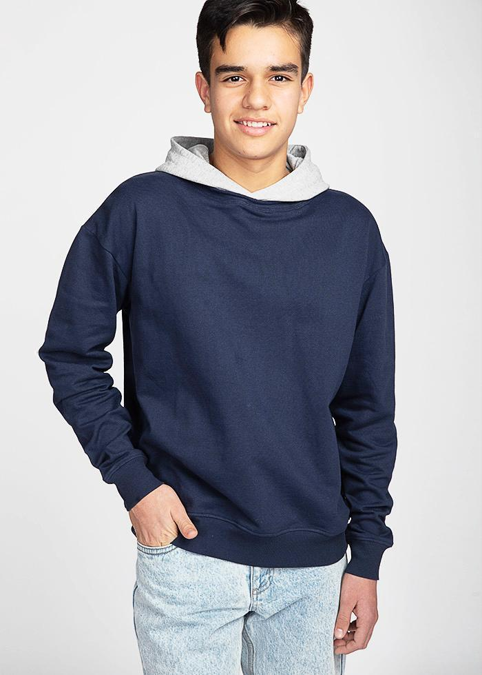 Boys Navy Grey Nathaniel Hoodie-TeenzShop