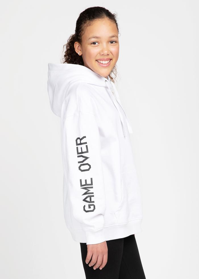 Girls White Game Over Hoodie-TeenzShop