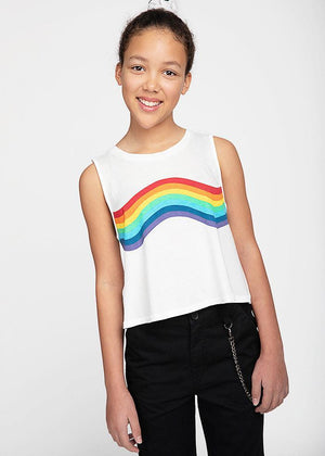 Girls White Rainbow Tank Top-TeenzShop