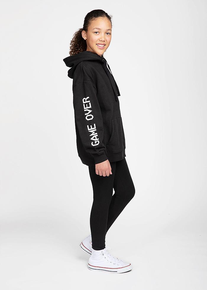 Girls Black Game Over Hoodie