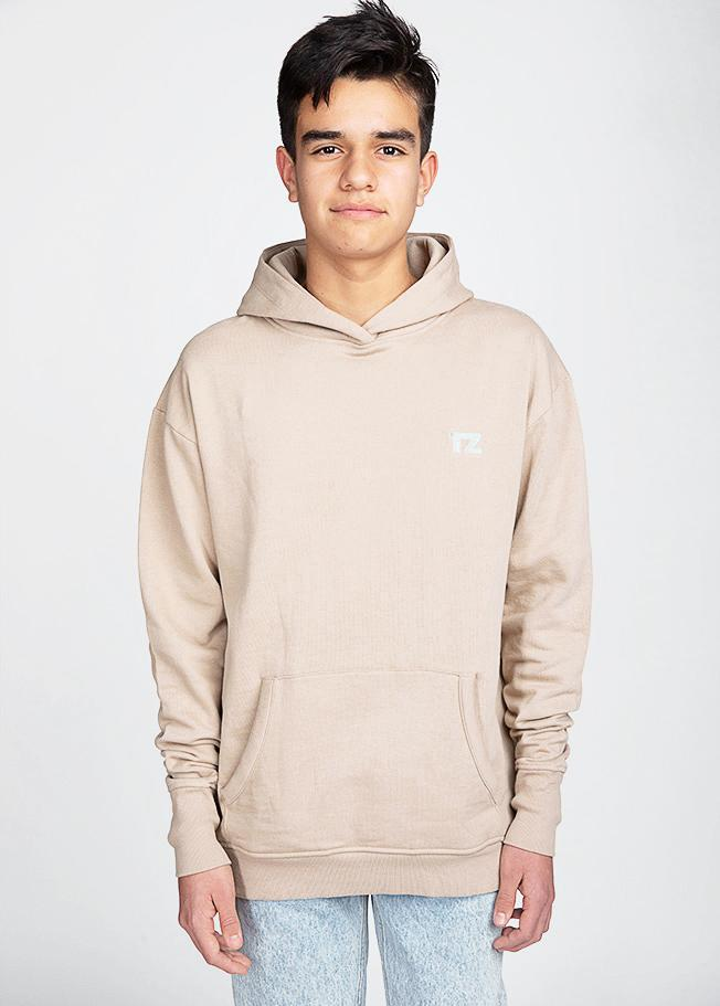 Boys Taupe Embroidered logo Hoodie-TeenzShop