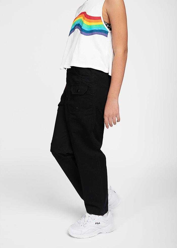 Girls Black Cotton Cargo Pants