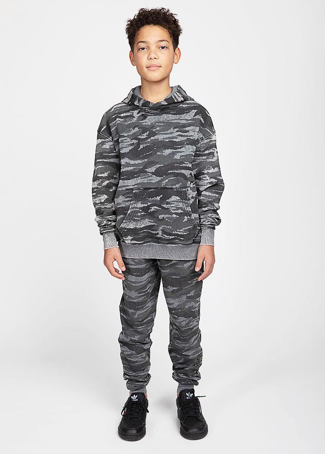 Boys Grey Distressed Camo Hoodie