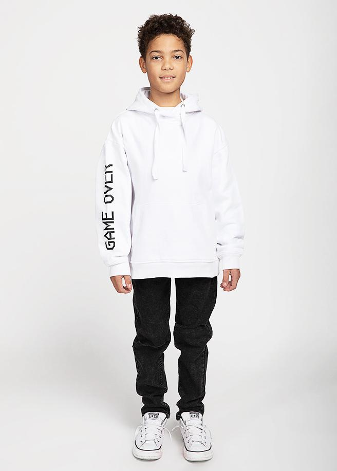 Boys White Game Over Hoodie