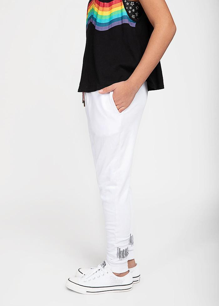 GIrls White Barcode Joggers-TeenzShop