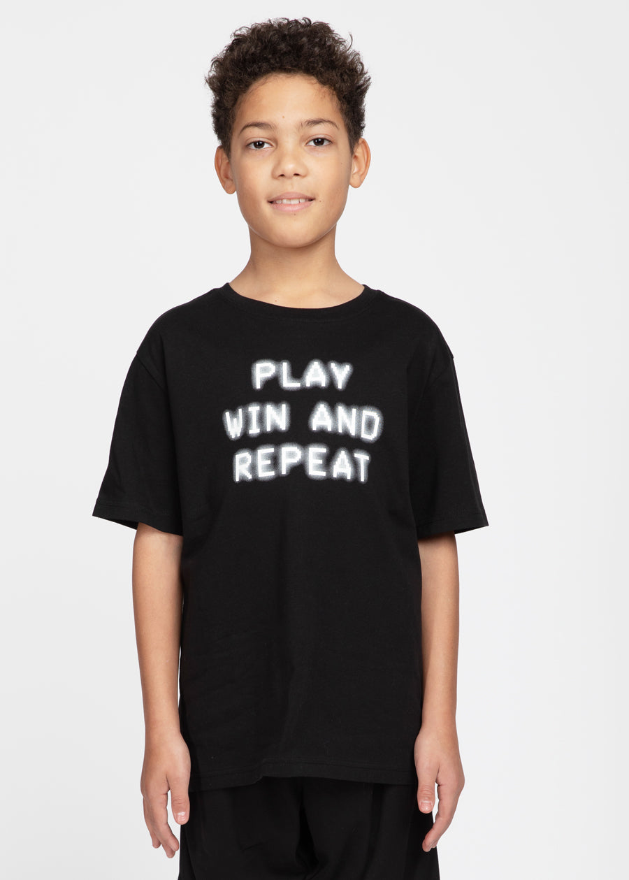 Boys Black Play Win & Repeat T-shirt