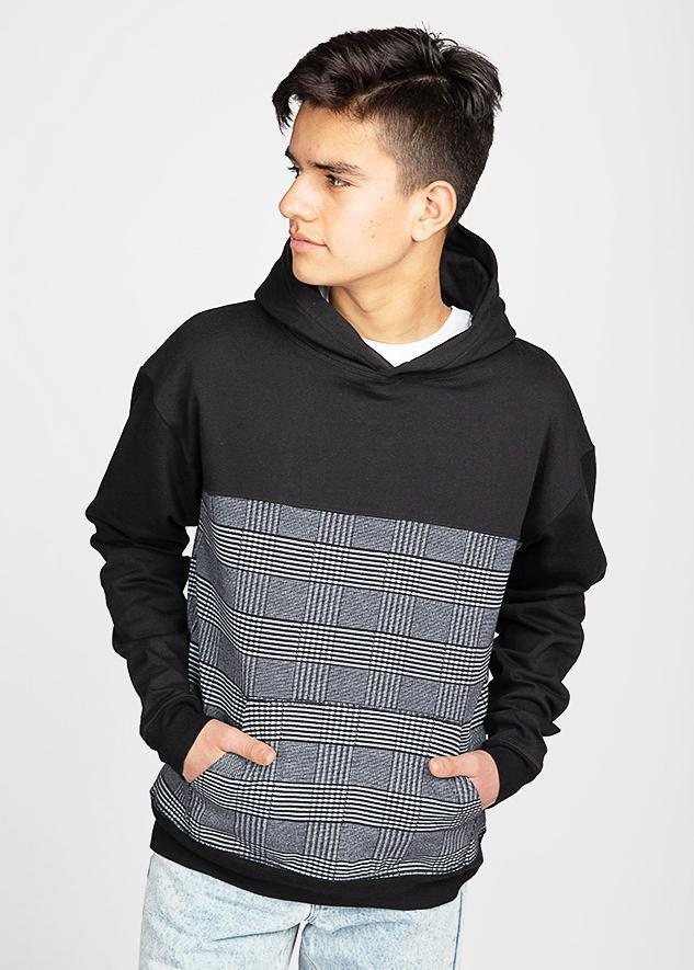 Boys Black Checker Hoodie-TeenzShop