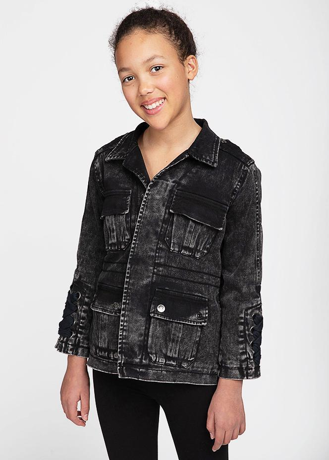 Girls Black Denim Winter Coat-TeenzShop
