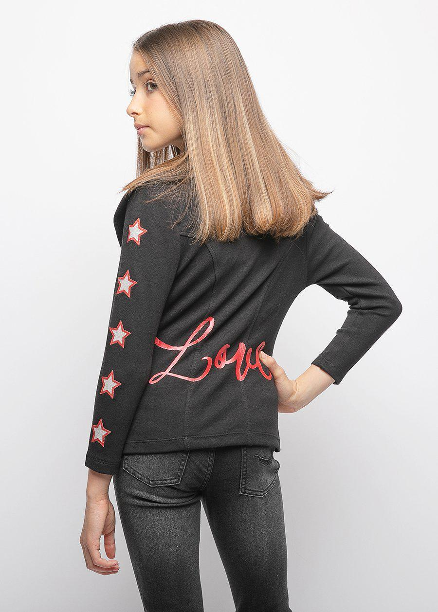 Girls Black Love Biker Jacket