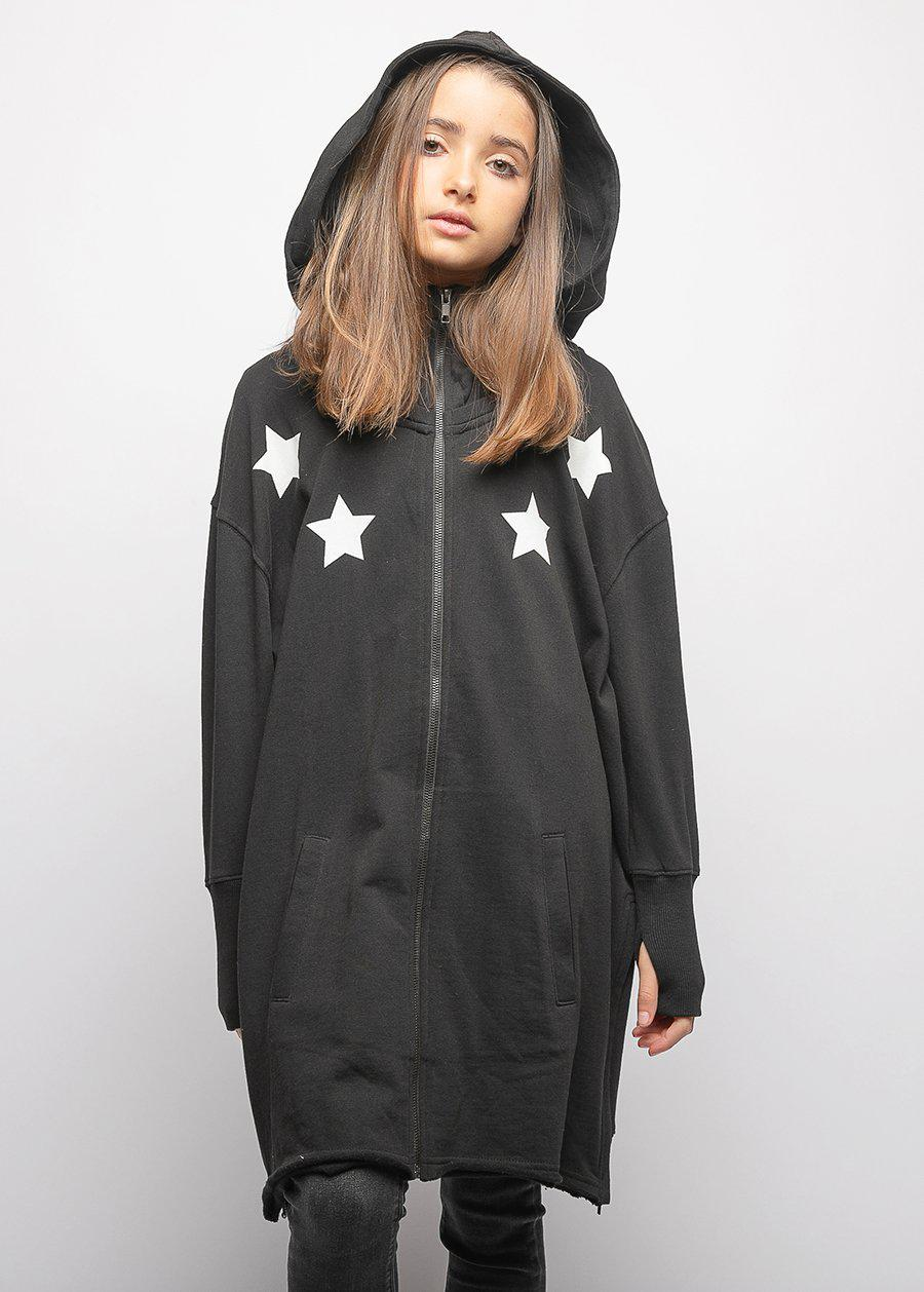 Girls Longline Oversized Hoodie with Stars