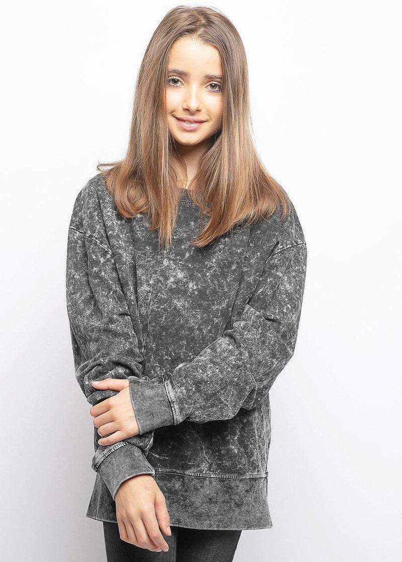 Girls Grey Tie-Dye Light Sweatshirt