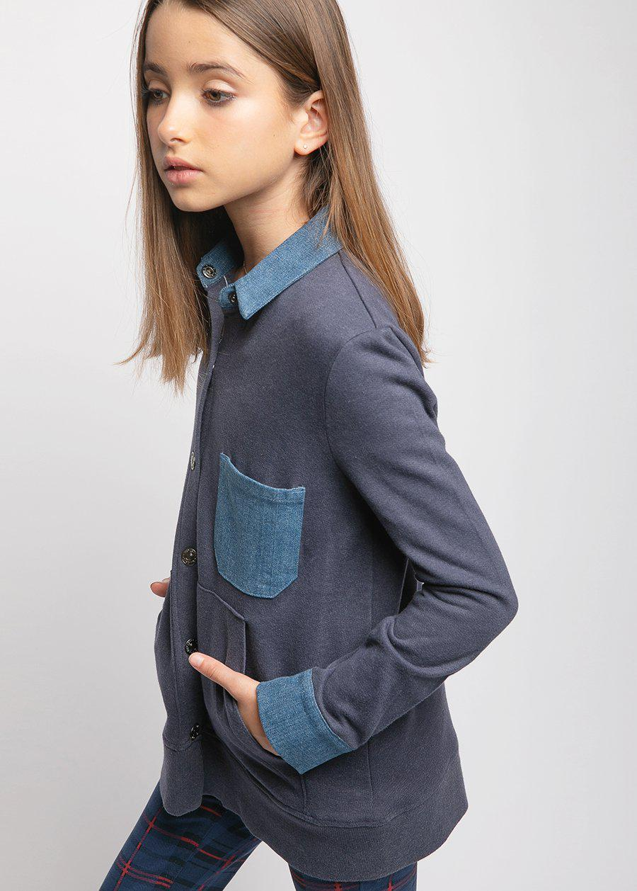Girls Fleece and Denim Jacket-TeenzShop