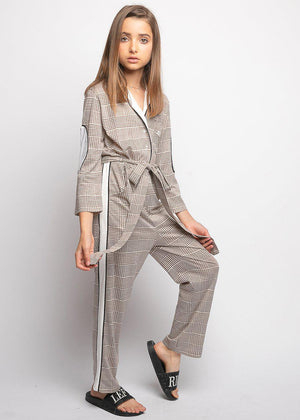 Girls Beige WORKWOMAN Boilersuit With Contrast Stripe