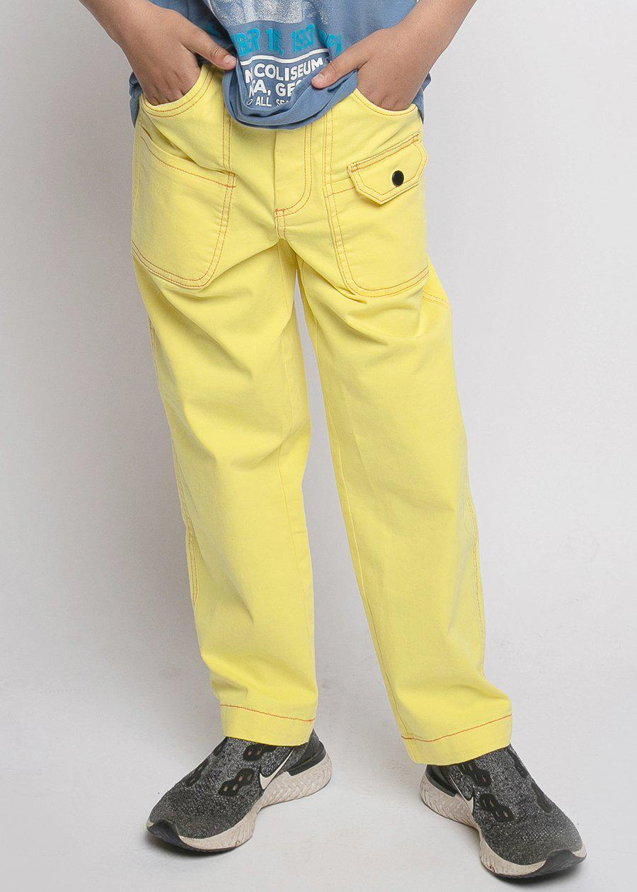 Boys Yellow Contrast Stitch Skater Trouser-TeenzShop