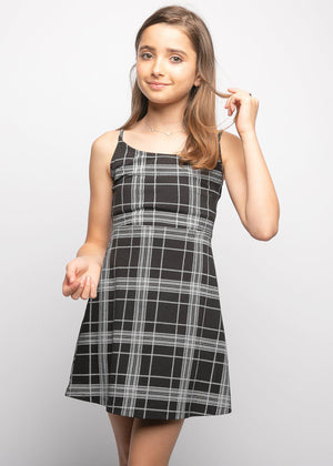 Girls Black and White Plaid Jersey Dress-TeenzShop