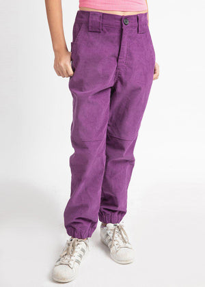 Purple Corduroy Cargo Pants
