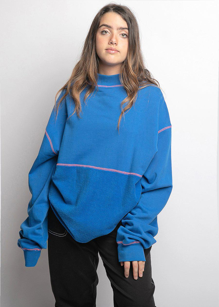 Girls Contrast Stitch Electric Blue Sweatshirt