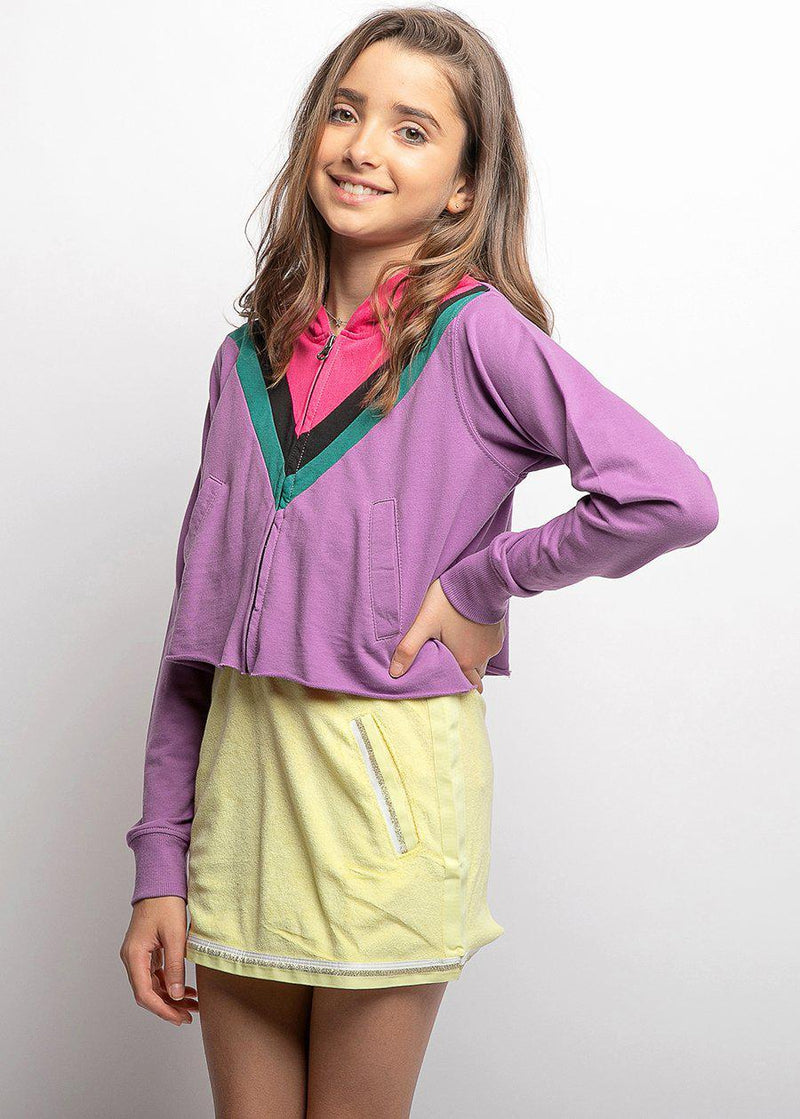Girls Retro Purple Cropped Hoodie with Eyes Embroidery