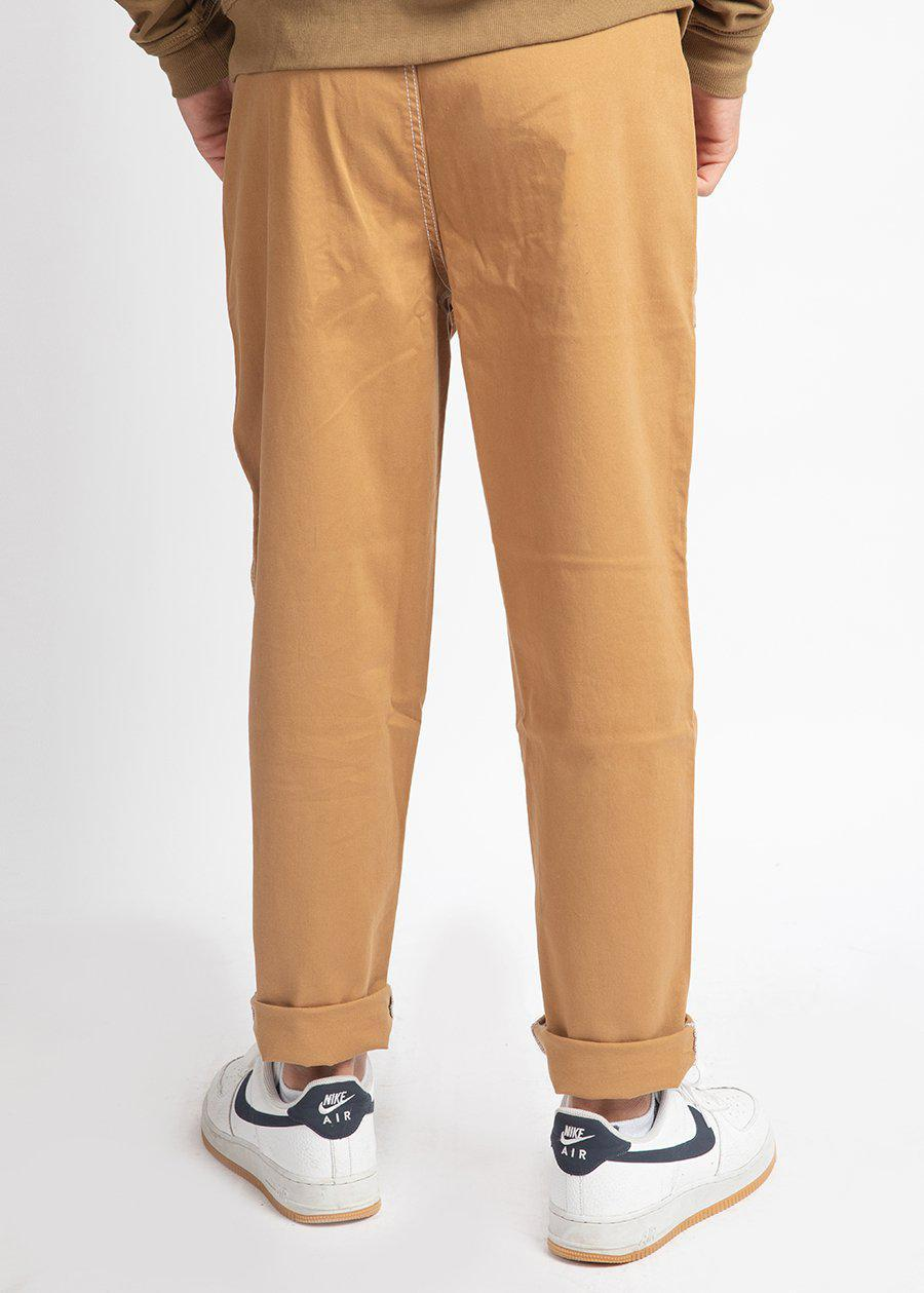 Boys Tan Contrast Stitch Skater Trouser-TeenzShop