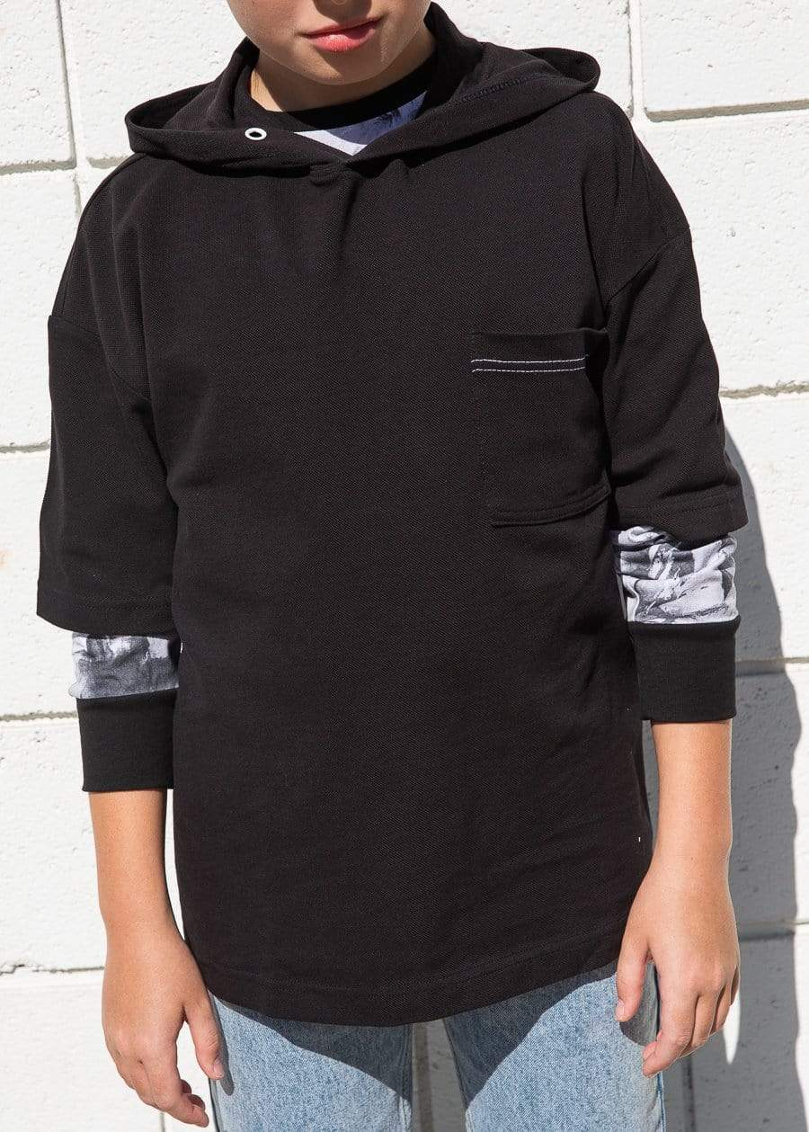 TeenzShop  Boys Black Short Sleeve Lightweight Hoodie - SUSTAINABLE FABRIC