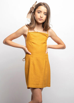 Girls 80's Gold Tie Back Dress-TeenzShop