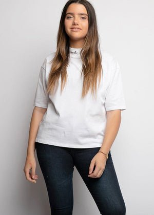 Girls White Forever & Ever High-Neck T - SUSTAINABLE FABRIC