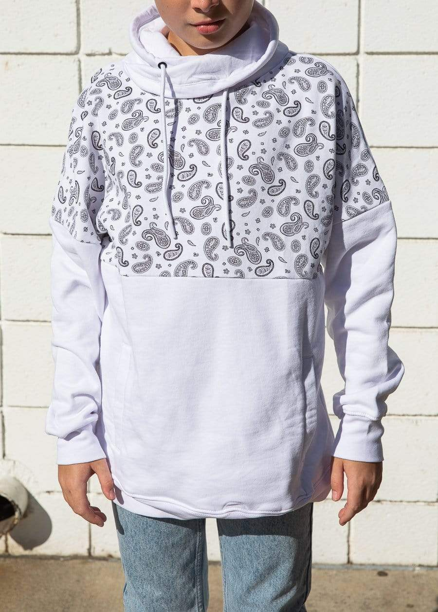 Boys White Funnel Neck Paisley Print Oversized Sweatshirt