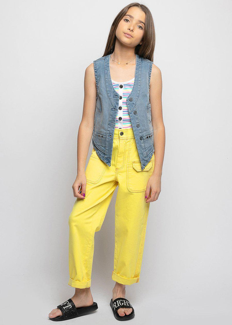 Yellow Contrast Stitch Utility Pants