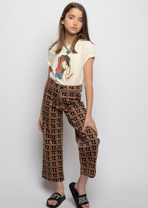 Girls TZ Logo Wide Leg Jeans