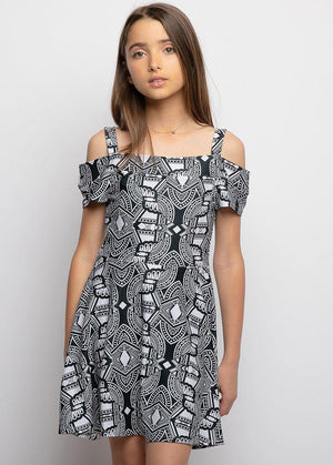 Girls Geometric Print Cold Shoulder Cotton Skater Dress - SUSTAINABLE FABRIC