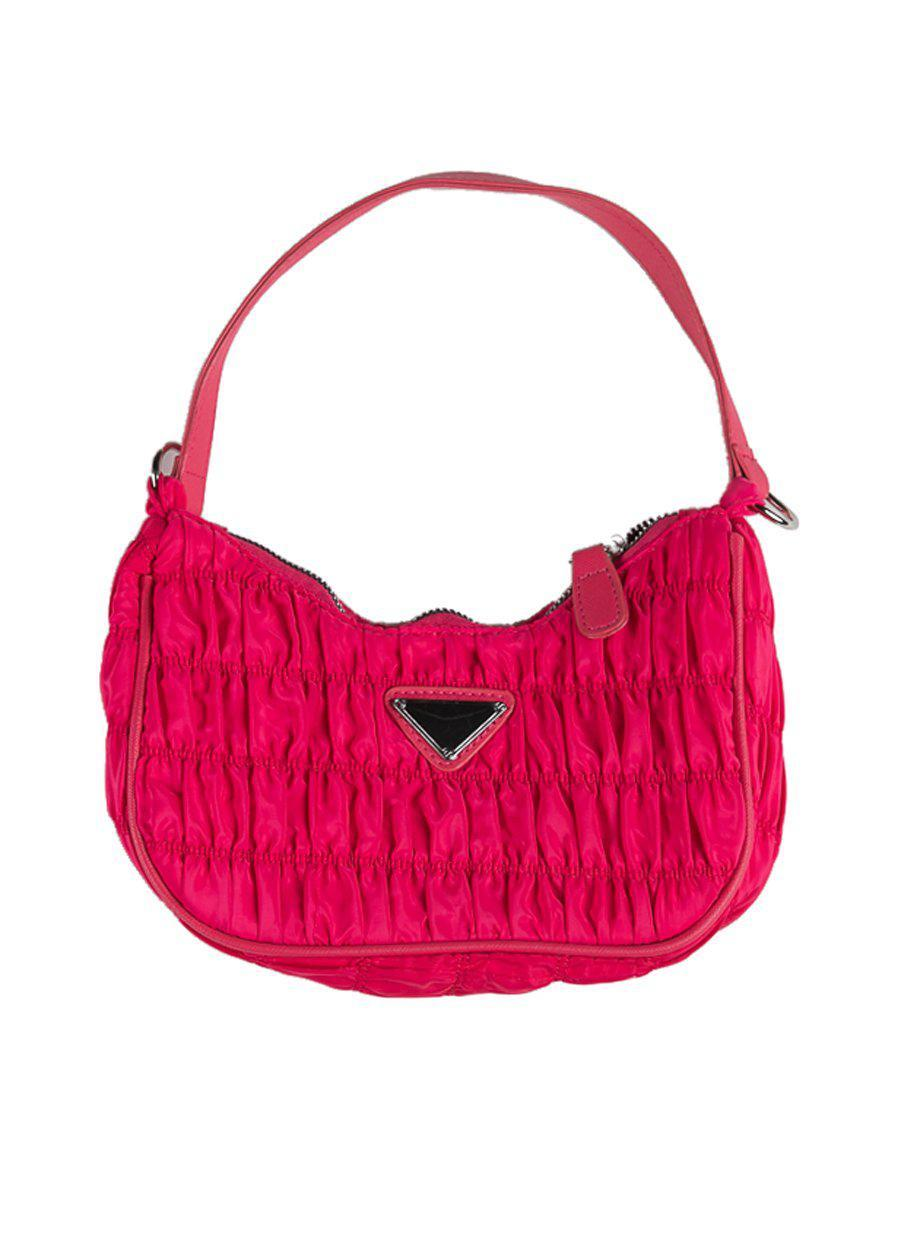 Pink Ruched Nylon Shoulder Bags-TeenzShop