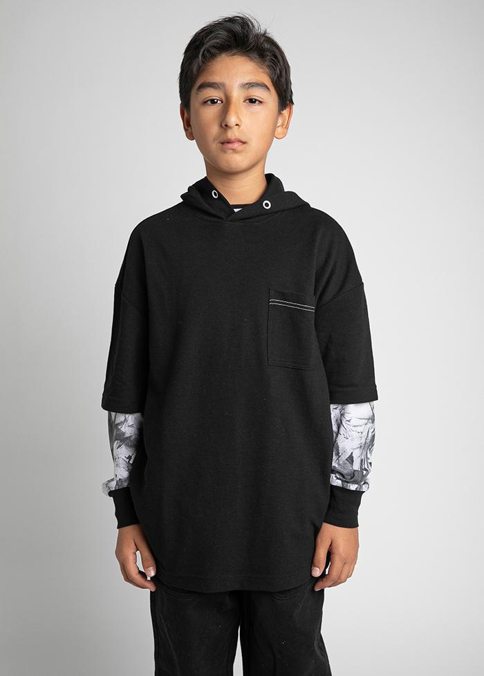 Boys Black Short Sleeve Lightweight Hoodie - SUSTAINABLE FABRIC