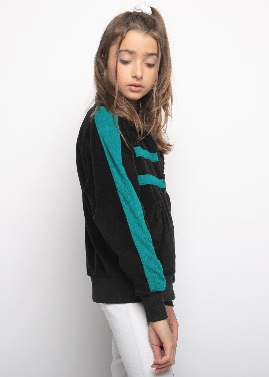Girls Velour Bomber Jacket-TeenzShop