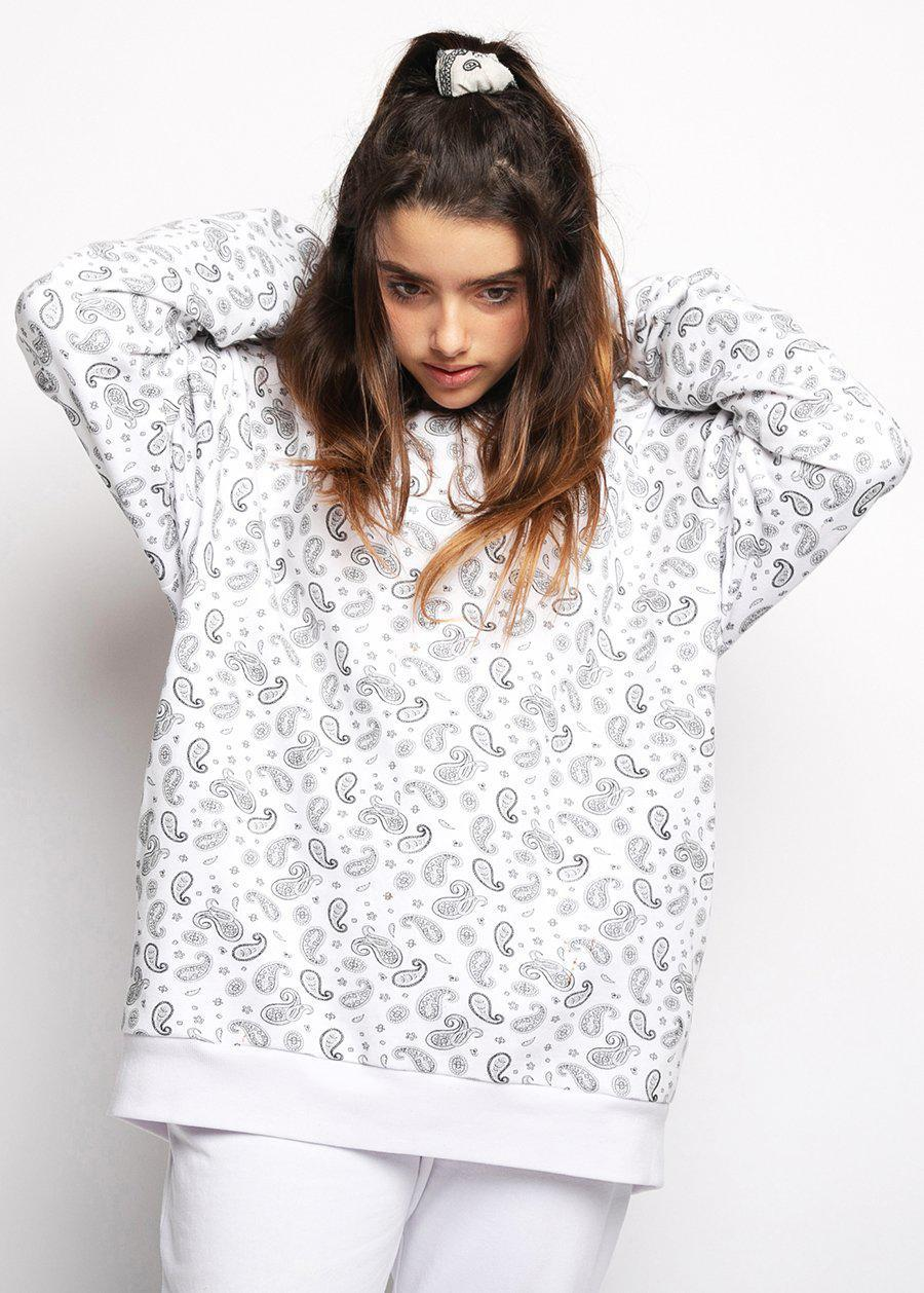 Girls White Soft Cotton Paisley Print Oversized Hoodie