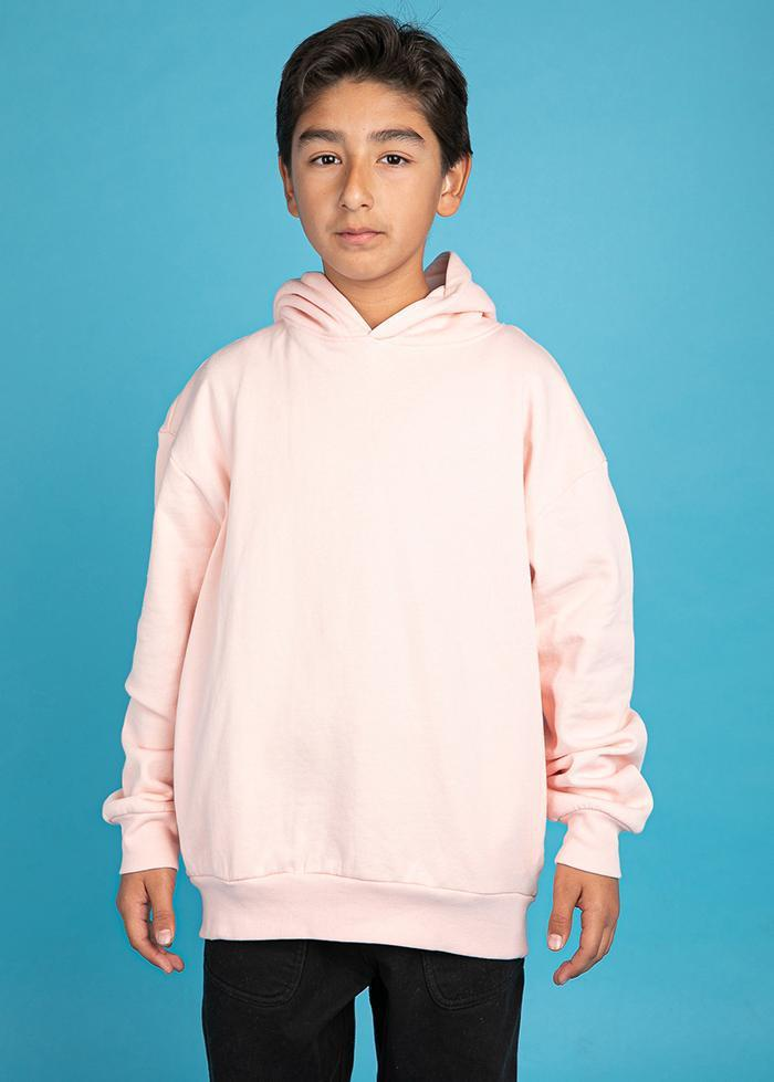 Boys Pink Soft Cotton Oversize Hoodie - SUSTAINABLE FABRIC